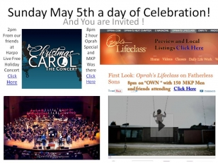 """Let's make May 5th 2013 a day of celebration with 2 big events! At 2:30 Live Show May 5th  """"A Christmas Carol- The Concert"""" . Tune in Sunday, May 5, at 9/8c for a special two-hour Oprah's Lifeclass with Iyanla Vanzant."""